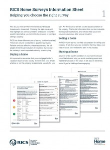 RICS Home Surveys Information Sheet - cover